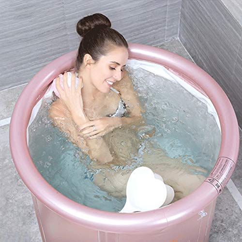 Adult Folding Bathtub Thick Plastic Bath Tub Inflatable Simple Bath Tub Home SPA Bathtub (Color : Pink, Size : L)