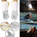OTGO 1 Pair Welding Gloves Heatproof Fireproof Leather Tig Welders Gauntlet Safety Working