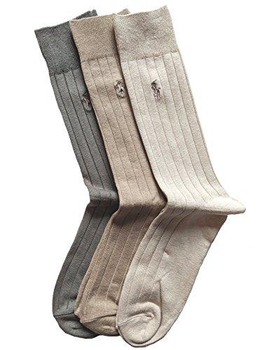 (Polo Ralph Lauren Men's 3 Pack Ribbed Dress Socks (Khaki))