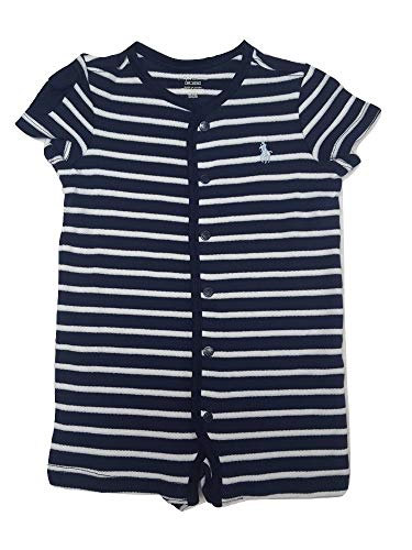 Ralph Lauren Baby Boy Striped Cotton Jersey Shortall (French Navy, 3 Months) ()