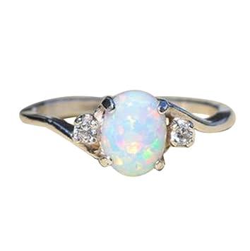 Amazon Com Hemlock Women Girls Alloy Silver Ring Opal Diamond Rings