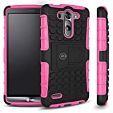 LG G3 Case, LG G3 Armor cases- Tough Armorbox Dual Layer Hybrid Hard/Soft Protective Case by Cable and Case® - Pink Armor Case