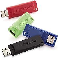 Verbatim 16GB Store n Go USB 2.0 Flash Drive, Blue, Green, Red, Black, 4 Pack