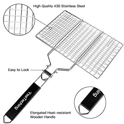 BBQ Barbecue Portable Grilling Basket, Non Stick Folding kabobs 430 grade stainless steel with Removable Wooden Handle for fish, steak, meat, vegetables , Outdoor Family Party BBQ Accessories Tool