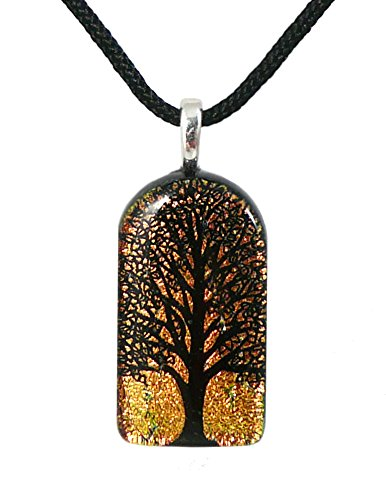 Etching Dichroic Glass - Tall Tree of Life American-Made Dichroic Glass Pendant with Black Cord Necklace, Adjustable 16-18 Inches