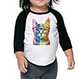 Rainbow Cat With Glasses Gay Pride Unisex Kids 3/4-Sleeve Raglan Tee T-Shirt Child Youth Fit Sports Uniforms