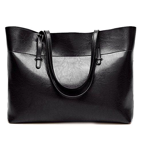 Femme à Sac Grande Bag Sacs Retro à Cuir Main Ladies Black Capacité Plein Business Pour Air Tote Bandoulière En Diagonal Bag qICfq