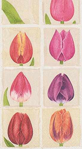 Caspari 3-Ply Paper Tulips, 15 Count Guest Towel Napkins, Set of 2