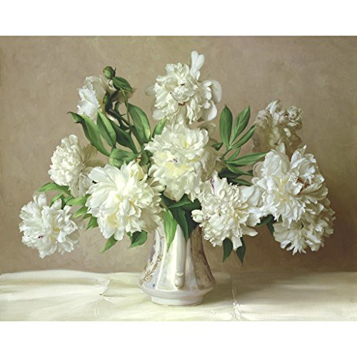 Hukai DIY Digital Oil Painting Paint by Numbers On Canvas Home Room Decoration Needlecrafts Paintworks Paint By Number (Peony Flower)