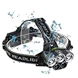 TIMPROVE LED Headlamp, Super Bright 8000 Lumens 6 Modes Waterproof Headlamp with Rechargeable 18650 Batteries Headlight Flashlight for Outdoor Camping Hunting Fishing Cycling Running Sports Adventure