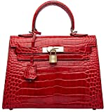 Women's Padlock Crocodile Leather Tote Top Handle Handbags Cherish Kiss (28CM, Croco Red)