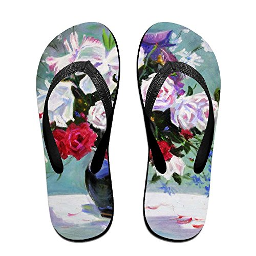 Women Painting PTJHKET Oil Flip Kids Slippers for Flops Black Men Flowers xq0Ign4q