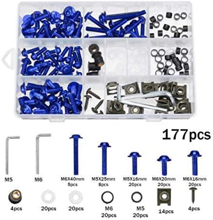 NICECNC Bleu 177Pcs Kit De Boulon De Car/énage De Moto Vis /Écrous Clips Compatible avec Honda CBR600RR 900RR 1000RR 1100XX Suzuki GSXR GSF SV RF RM Yamaha YZF R1 R6 FZR1000 FZ1