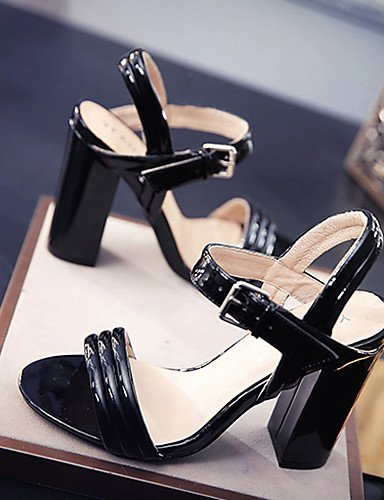 Sandals ShangYi Shoes Heel Black Office Career Nude Blue White amp; Heels Women's Dress Chunky Leather Casual Blue IIY5r