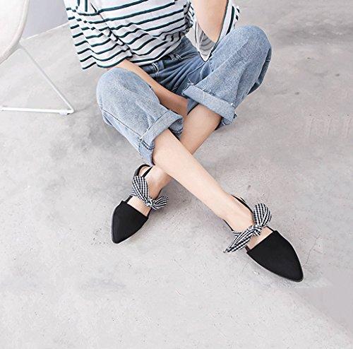 Knöchel niedrige rauer 36 Traumfrauen Farbe Schuhe römische Muller Baotou Freizeitschuhe schwarz Absatz Absätze Bowknot Mode Sandalen Schuhe Größe 8tdwqd