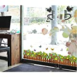 Colorful Butterfly And Flower Fence 3D Wall Sticker Home Decor Living room wall decoration