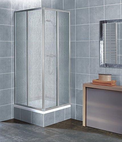Cabina de ducha para rincón, cristal de plástico, decoración de gotas, perfil plateado, 75 x 75 cm, 75 x 80 cm, 75 x 90 cm, 90 x 75 cm, 80 x 75 cm: Amazon.es: Bricolaje y herramientas