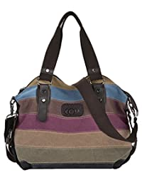 Coofit Ladies Hobo Handbags Multi-Color Striped Canvas Shoulder Tote Bag for Women