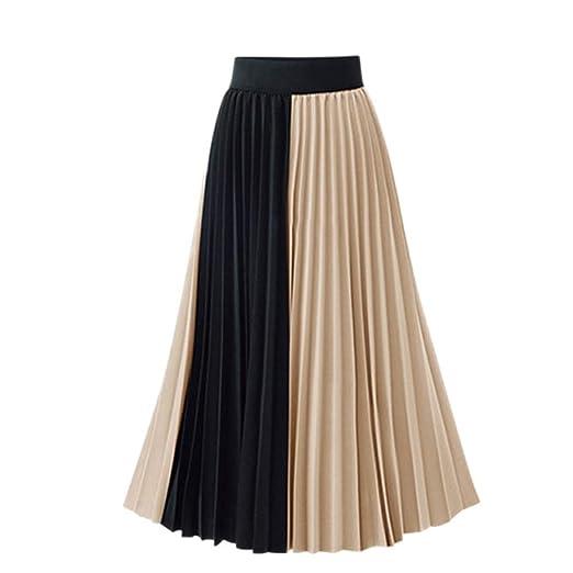 Owenqian Faldas de Mujer Plisadas Vintage Faldas de Cintura Alta ...