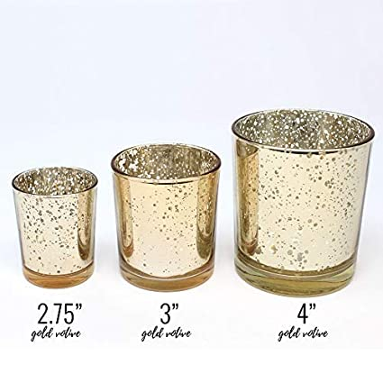 Just Artifacts Mercury Glass Votive Candle Holders 4in Speckled Gold Mercury Glass Votive Candle Holders for Weddings and Home D/écor JustArtifacts.net Set of 12