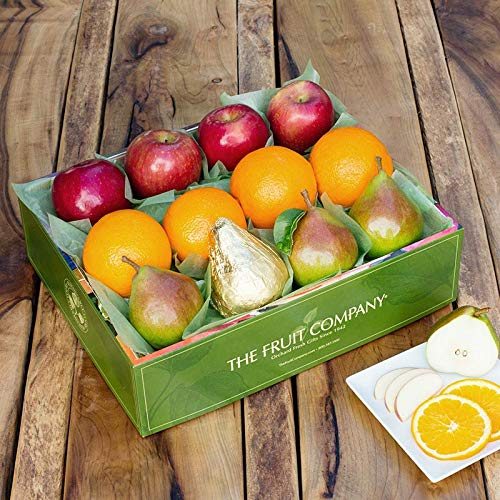 The Fruit Company Mixed Fruit Medley Gift Box - 7 lbs - 12 Pieces of Premium Apples, Pears and Oranges Hand-Packed in a Reusable Watercolor Box Designed by Local Oregon Artist