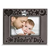 BELLA BUSTA Silver Edition-First Mother's Day 2018-Engraved Leather Picture Frame- -Modern Picture Frame- Engraved 2018 silver Mirror Acrylic Piece Integrated (5'x 7' Vertical (first Mother's Day))