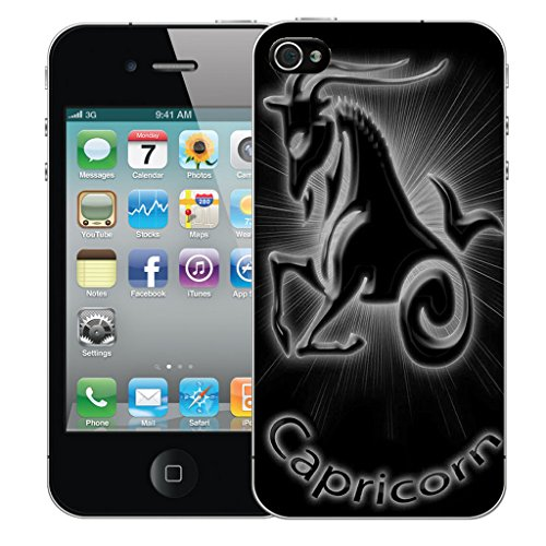 Mobile Case Mate iPhone 4s Silicone Coque couverture case cover Pare-chocs + STYLET - Black Capricorn pattern (SILICON)