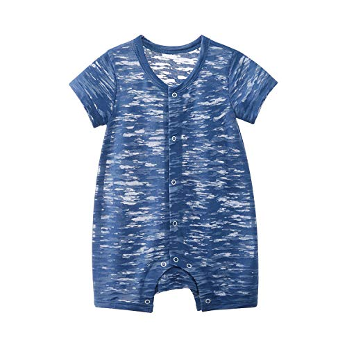 pureborn Baby Boys Romper Infant Summer Breathable Short Sleeve Clothes Navy Camouflage 0-3 Months ()