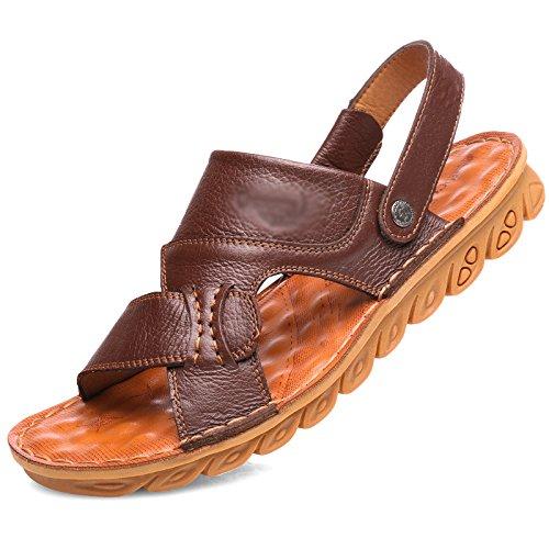 morbidi in doppio estate e pantofole fondo Marrone sandali manzo uso a antiscivolo di pelle casual uomo da WFL tendine in Sandali scarpe spiaggia da pelle xCTnAwXvBq