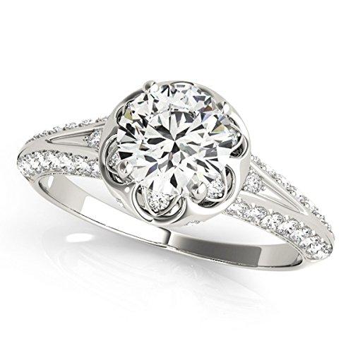 Diamond Floral Style Halo Engagement Ring Platinum (0.75ct) by Allurez