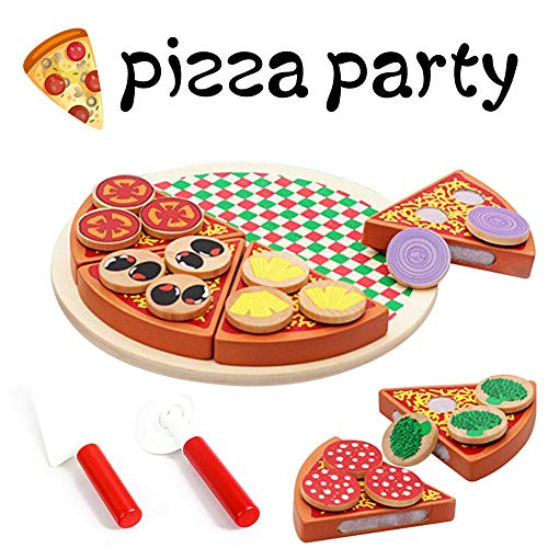 ZGWJ Wooden Pretend Play Food Pizza Set & Sticky Tab Toppings Simulation Tableware for Kids Pretend Play Toy 1.1