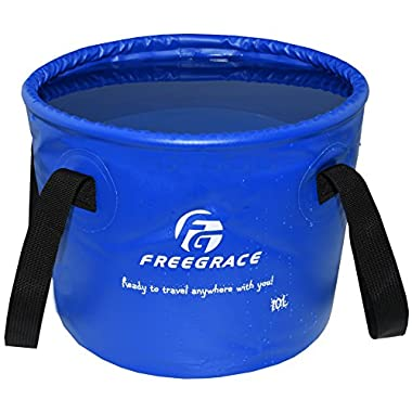 Freegrace® Best Collapsible Bucket -Multifunctional Folding Bucket -Perfect Gear For Camping, Hiking & Travel (Navy Blue, 10L)