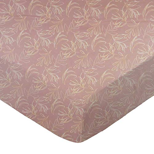 (SheetWorld Fitted 100% Cotton Percale Cradle Sheet 18 x 36, Mauve Leaves, Made in USA)