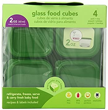 4 Paquetes de vidrio bebé Pesticidas de cubos, 2 onzas,