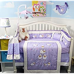 SOHO Lavender Purple Wooly Sheeps Crib Nursery Bedding Set 14 pcs