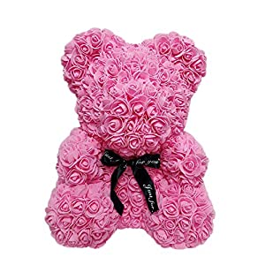 Ailainniyishi The Rose Teddy Bear Artificial Forever Rose 40cm/25cm Anniversary Christmas Valentines Gift (40CM, Pink) 48