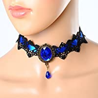 ERAWAN Gothic Victorian Steampunk Ladies Lace Gemstone Choker Collar Necklace Gift EW sakcharn (Blue)