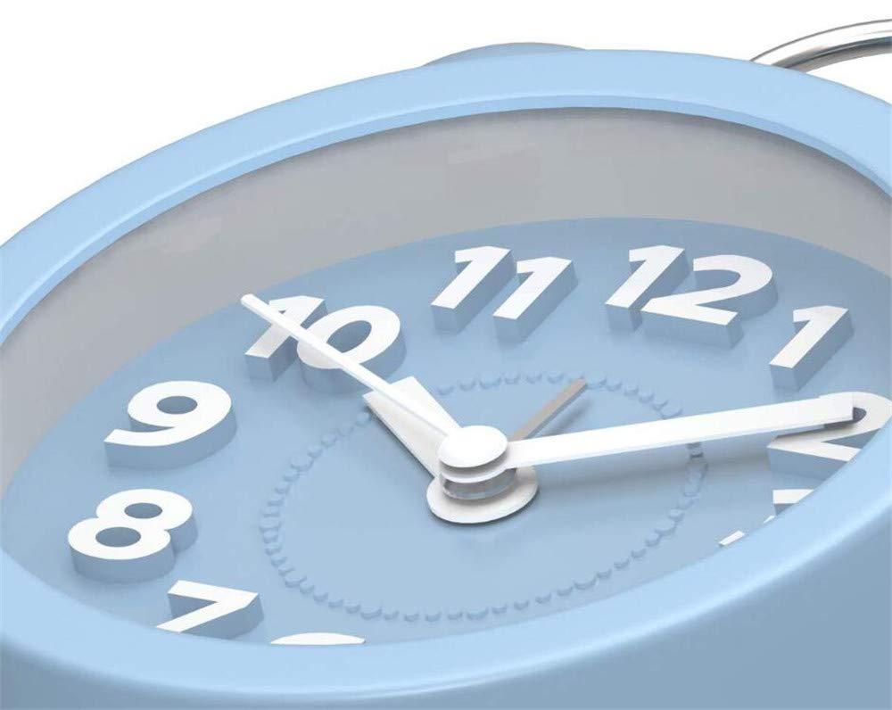Classica con Luce Notturna Allarme Forte Sveglia con Numeri Grandi Martin Kench Mini Sveglia a Doppia Campana Senza ticchettio silenziosa Funzionamento a Batteria 3 Pollici Pink