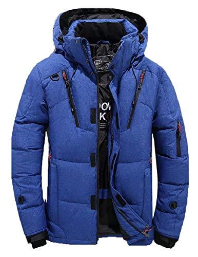 security Men Hooded Jacket Warm Cotton Jacket Zipper Athletic Outdoor Coat Blue