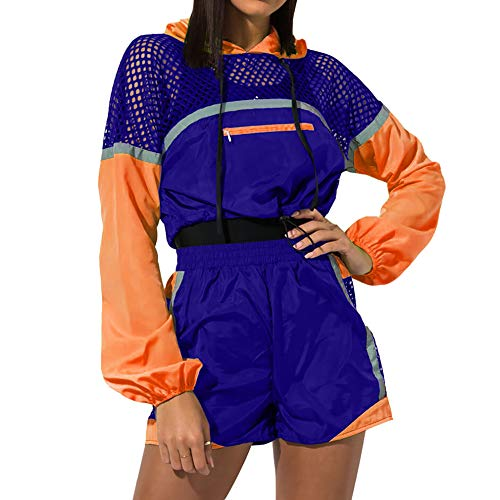 Women¡¯s 2 Piece Outfits - Sweatsuits Long Sleeve Pullover Sweatshirt Short Pants Tracksuit Set Blue+Orange M