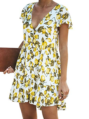 (Saikesigirl Women's Floral Print Dress Deep V Neck Flared Short Mini Dresses Ruffle Hem Buttom Down)