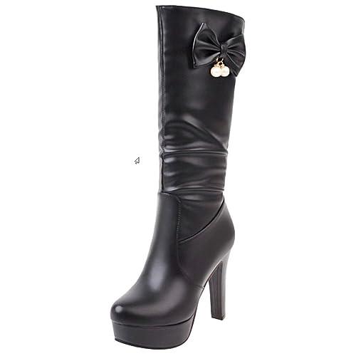RAZAMAZA Moda Botas Largas de Tacon Alto con Bowknot para Mujer  Amazon.es   Zapatos y complementos ebfa3d2f108f0