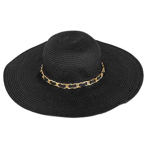 c0444766c Aerusi Mrs Wickman Women's Beige Floppy Sun Hat with Chain Band at ...