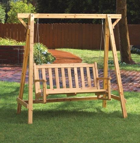 - Weatherproof Wood Home Patio Garden Decor Bench Swing