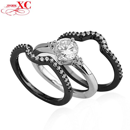 [Dudee Jewelry Unique Size 5/ 6/7/8/9/10 Women Fashion T Black Gold Filled Zircon Finger Wedding Ring 3 piece] (Redneck Costumes For Women)