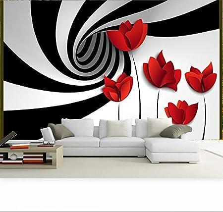 HD Carta da parati tessuto non tessuto Moderna 3D Fotomurali Camera da letto soggiorno TV sfondo decorazione della parete Fiore Vortice in Bianco e Nero 350cmx256cm