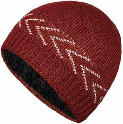 e30439d320c96b YSense Mens Winter Warm Knitting Hats Plain Skull Beanie Fleece Lined Cuff  Toboggan Knit Cap