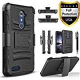 ZTE Max Duo LTE Case, ZTE Max Duo 4G LTE Case, Combo Shell Cover Kickstand with Built-in Holster Locking Belt Clip+Circle(TM)Touch Screen Pen And Screen Protector-Black