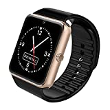 Sweatproof Watch Monitor Smart Watch Phone for iPhone 5s/6/6s/7 and 4.2 Android or Above SmartPhones (Gold)
