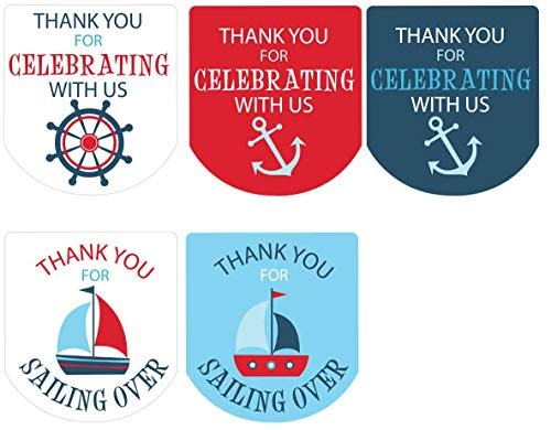 Hand Sanitizer Labels Thank You Stickers Baby Shower Favors Nautical Boy Set of 90